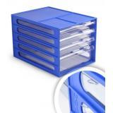 Блок с выдвижными лотками 250х340х225 мм синий, лотки прозрачные ВЛ55 Стамм {Россия}