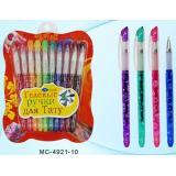 Набор гелевых ручек для тату+трафареты-наклейки, с блестками МС-4921-10 10цв Basir {Китай}