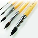 Кисть белка №5 длинная ручка, пропитанная лаком
